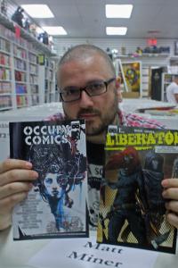 Matt Miner at Fourth World Comics, Smithtown, New York, June 22, 2013.