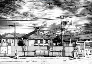 Chapter 10 Page 13 is a perfect example of how Punpun's  design contrasts with the world around him